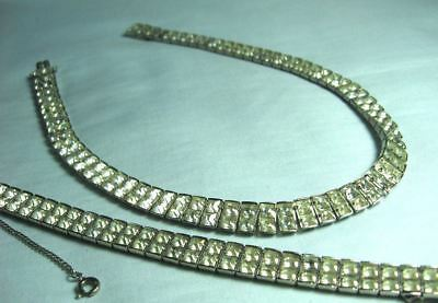 Deco Style Silverplate & Crystal Necklace & Bracelet Necklace: 14""