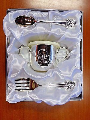 Silver Plated Duck Design Baby Spoon, Fork and Cup Set (i287)