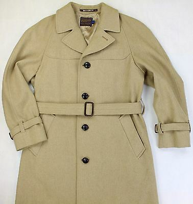 Men's Pendleton Overcoat Size 42 Vintage Long Length Trench Coat in Camel Tan