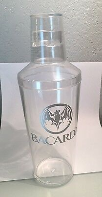 3 Piece Bacardi Rum Cocktail Shaker Strainer Cup with Large Bat Logo & Brand