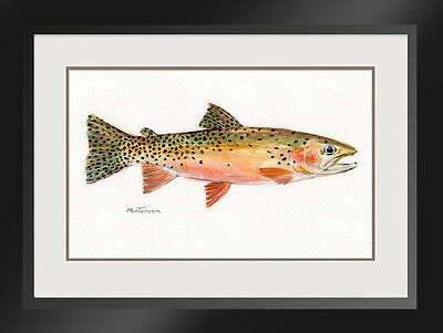 Original Fish Portrait Painting Cutthroat Trout Rainbow R M Mortensen Art