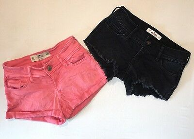Hollister Bundle Two Shorts Size 00 Lot Pink Black Jean W23 Juniors
