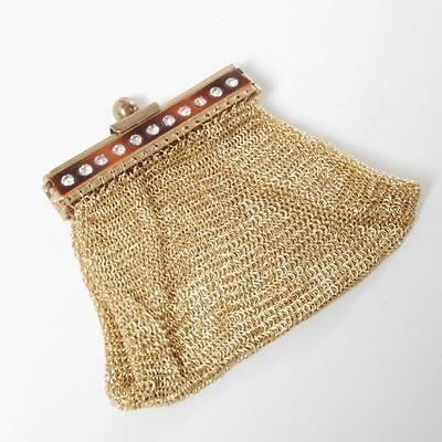 Vintage Gold Chain Mail Spring Open Change Purse W/ Rhinestones Us Zone Germany
