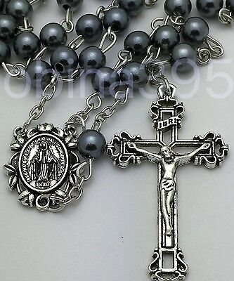 Miraculous Center Traditional Crucifix Gray Pearl Catholic Rosary Beads