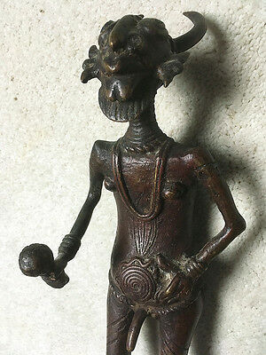 African Tikar Bronze Statue Animism Bamun Bamileke 14 Inches Tall BIG