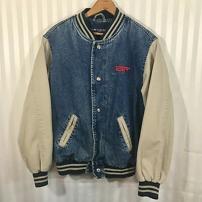 ESPN Vintage Jacket Denim Jean 90's Varsity Starter Sports Small Men's Unisex