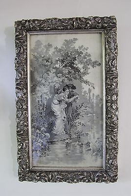 Antique Edwardian silk pictures in silver engraved frame