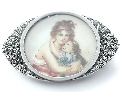 Antique Signed French Silver Mother & Child Painted Enamel Portrait Brooch