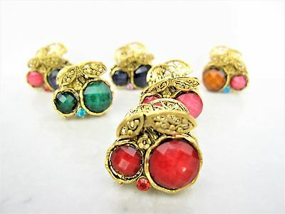 small mini metal cherry fruit shaped jeweled antique style bronze hair claw clip