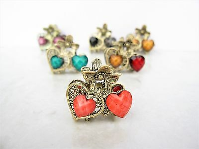small mini metal heart shaped jeweled antique style bronze hair claw clip