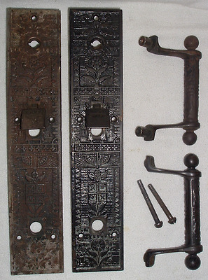 1880s SARGENT & CO EASTLAKE COMPLETE DOOR BACKPLATE SET w THUMB TABS & BOLTS *CI