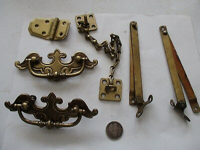 Antique Cast Brass Finish Desk Hardware W/ Hinges
