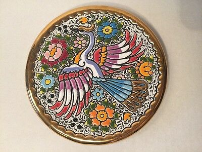 """Cearco Decorative Plate Hand Made in Spain 24K Gold Peacock 5 7/8"""""""