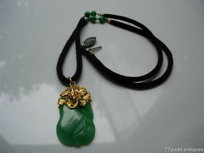 Excellent Antique Chinese Jadeite Jade Gourd & 22K Gold Pendant W Silk Necklace