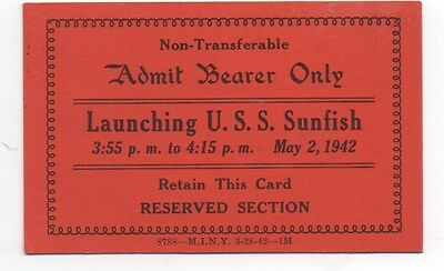 1942 WWII Invitation Card to the Launching of the U.S.S. Sunfish