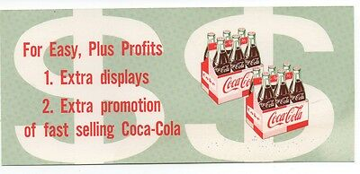 1961 Coca Cola double sided Advertising Promotion Card