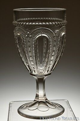 """c. 1903 No. 15079 WISCONSIN by U.S. Glass CRYSTAL Goblet - 6 1/4"""" H"""