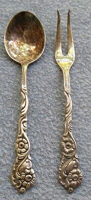 2 Pcs Ornate Silverplate Nils Johan of Sweden 2 Tined Fork and Spoon Set
