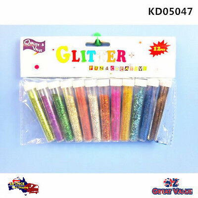 12pcs Multi Color Glitter Shaker 10ml Assorted Colours Craft Art DIY KD05047