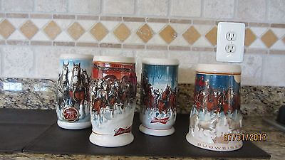 2005, 2006, 2007, 2008 Budweiser Beer Steins - PreOwned - Displayed Only
