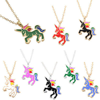 Glaze Unicorn Horse Animal Clavicle Pendant Necklace Jewelry Gold Silver Chain N