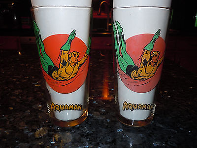 Vintage AQUAMAN ACTION  1976 Pepsi Series Collector Glasses-- SET OF 2 • $7.75