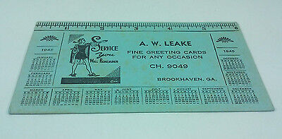 1945 Aw Leake Fine Greeting Cards Brookhaven Ga Advertising Calendar Ink Blotter