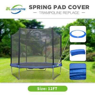 12ft Reinforced Outdoor Round Trampoline Replacement Spring Pad Cover Blue