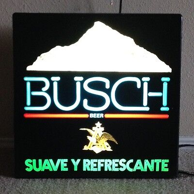 BEER SIGN BUSCH BEER IN       SPANISH Vintage Man Cave Lighted Bar Sign
