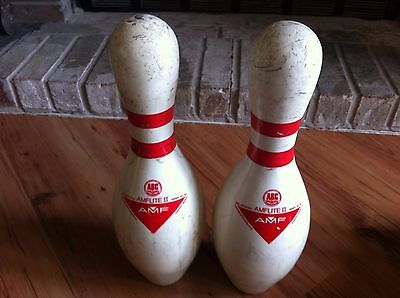 2 Vintage AMF AMFlite II Bowling Pin ABC Approved Plastic Coated Pin Made USA