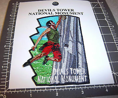 Devils Tower Wyoming National Monument Embroidered patch, moving climber! unique