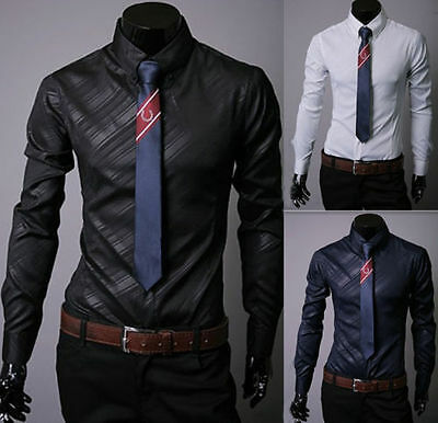 Fashion Mens Slim Fit Long Sleeve Dress Shirts Casual Formal Business Suit Tops