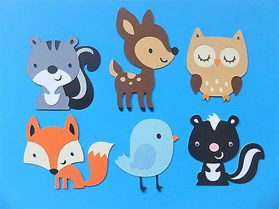 WOODLAND ANIMAL DIE CUTS x 6 - Deer Squirrel Owl Fox Blue Bird Skunk Forest