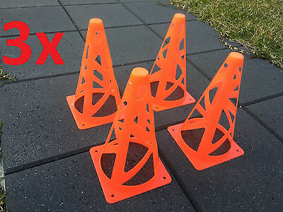 "12x Safe Collapsible Marker Cones 9"" Sport Soccer Rugby Football Tennis Training"