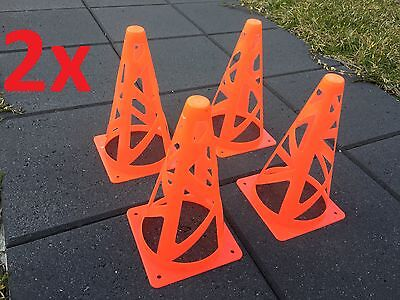 "8x Safe Collapsible Marker Cones 9"" Sport Soccer Rugby Football Tennis Training"