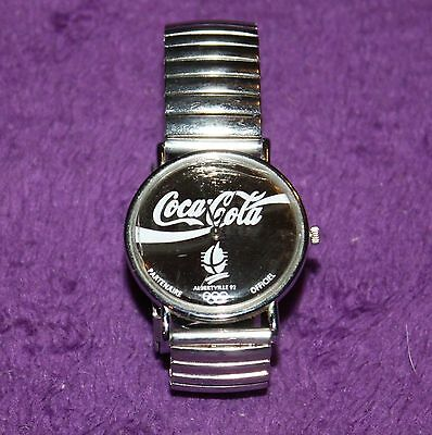 Coca Cola Silver Face Watch Albertville 1992 Olympics White Lettering PWF 2347