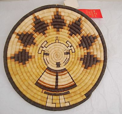 Hopi Pictorial Coil Basket Plaque Snow Maiden Ernestine Dashee 1990 Prize - tags