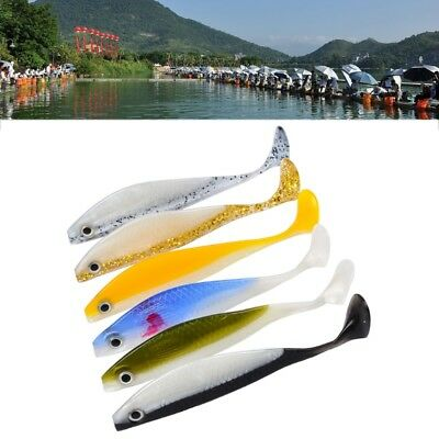 Soft Silicone Fishing Lures Fishing Tackle Bass Bait 11.5cm/11g Mixed Color 6pcs