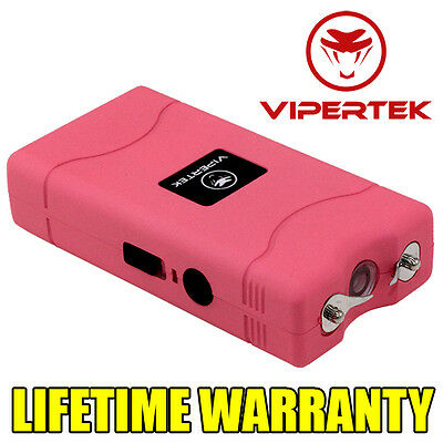 VIPERTEK PINK Mini Stun Gun VTS-880 450 MV Rechargeable LED Flashlight