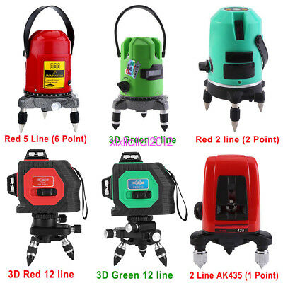 6Type 360° 3D 2/5/12 Line Laser Self Leveling Vertical & Horizontal Level Cross