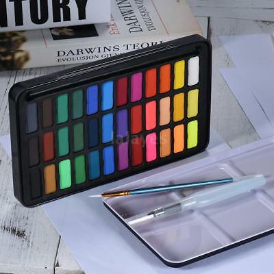 36 Colors Solid Watercolor Paint Pigment+Water Brush Set Drawing Supplies U1X5