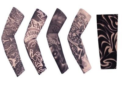 5Pcs Cool Temporary Fake Slip On Tattoo Sleeve Arm Sun Protector Cycling Covers