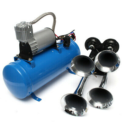 12V/24V 4 Trumpet Vehicle Air Horn Compressor Tubing 150 dB Train 120 PSI Kit