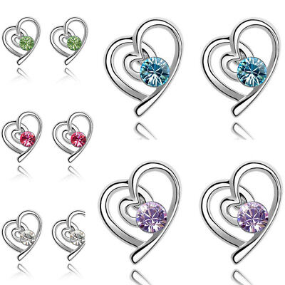 NEW Crystal Rhinestone Silver Plated Heart Ear Stud Earrings Jewelry Womens Gift