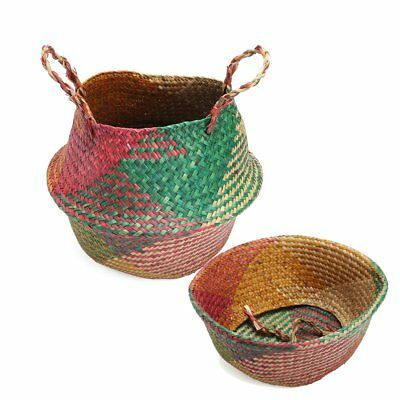 Dia:32cm Colorful Seagrass Flower Belly Basket Storage Holder Plant Pot Laundry