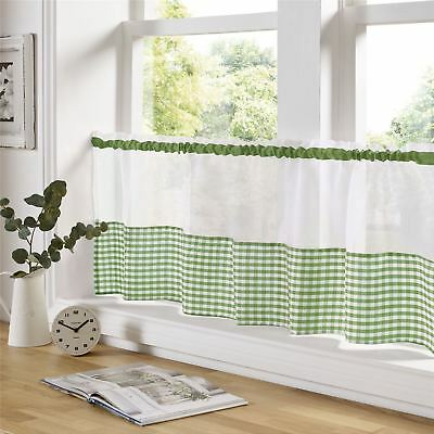 "Green And White Gingham 59"" X 18"" – 150Cm X 45Cm Kitchen Cafe Curtain Panel"