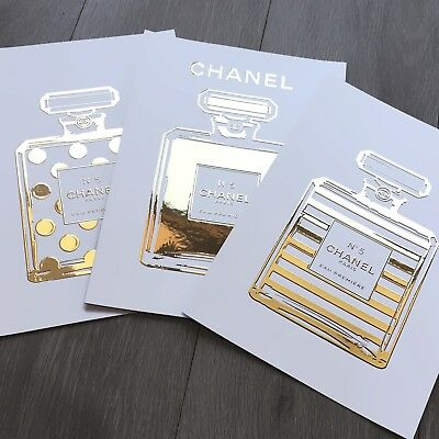 CHANEL No.5 Perfume Bottles - 3 x A4, Raised Real Gold Foil Prints (Unframed)