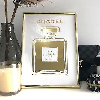 CHANEL No.5 Perfume Bottle - 1 x A4 - RAISED REAL GOLD FOIL PRINT (Unframed)
