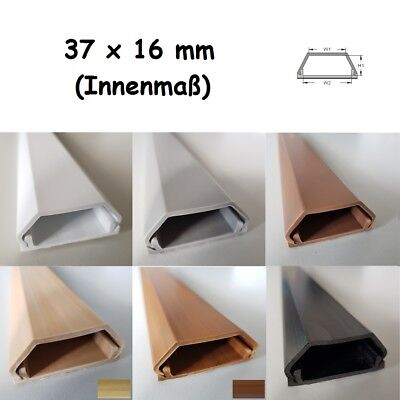 Grey 1m Cable Channel 37x16mm (Inside Dimensions) Self Adhesive