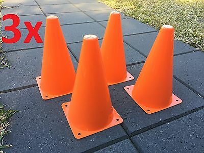 "12 Orange Marker Cones 9"" Sport Soccer Rugby Football Tennis Basketball Training"